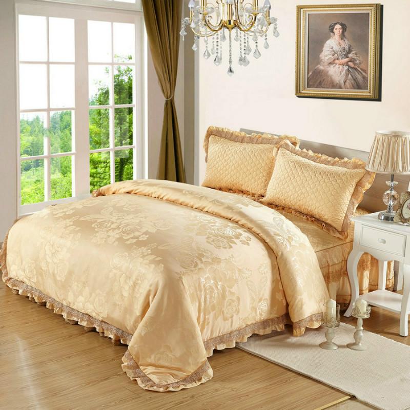 圣寝阁贡缎提花蕾丝圆床床品加棉绗缝圆床床裙床罩床单四件套定制