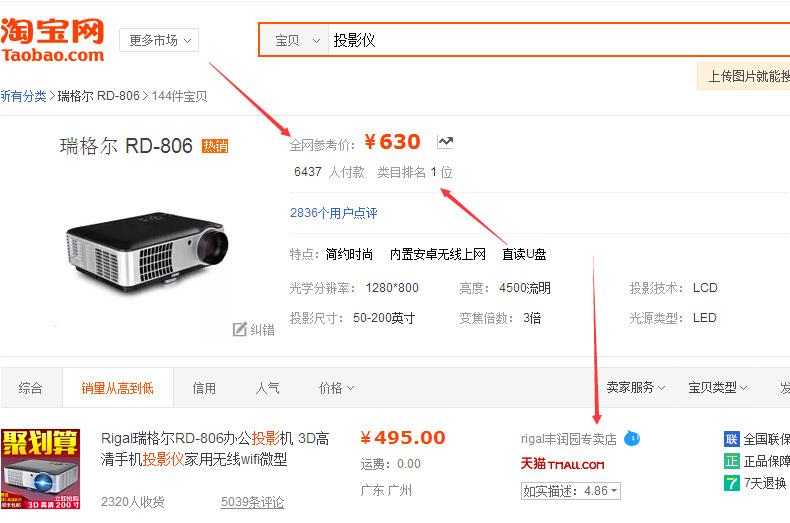 3D高清投影仪247元,赠送100寸幕布+200元礼品,6.4万评价4.9高分,全网销量第一